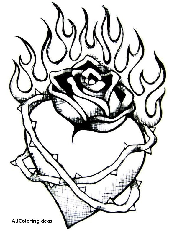 Coloring Pages Of Hearts With Flames | Free download best Coloring ...