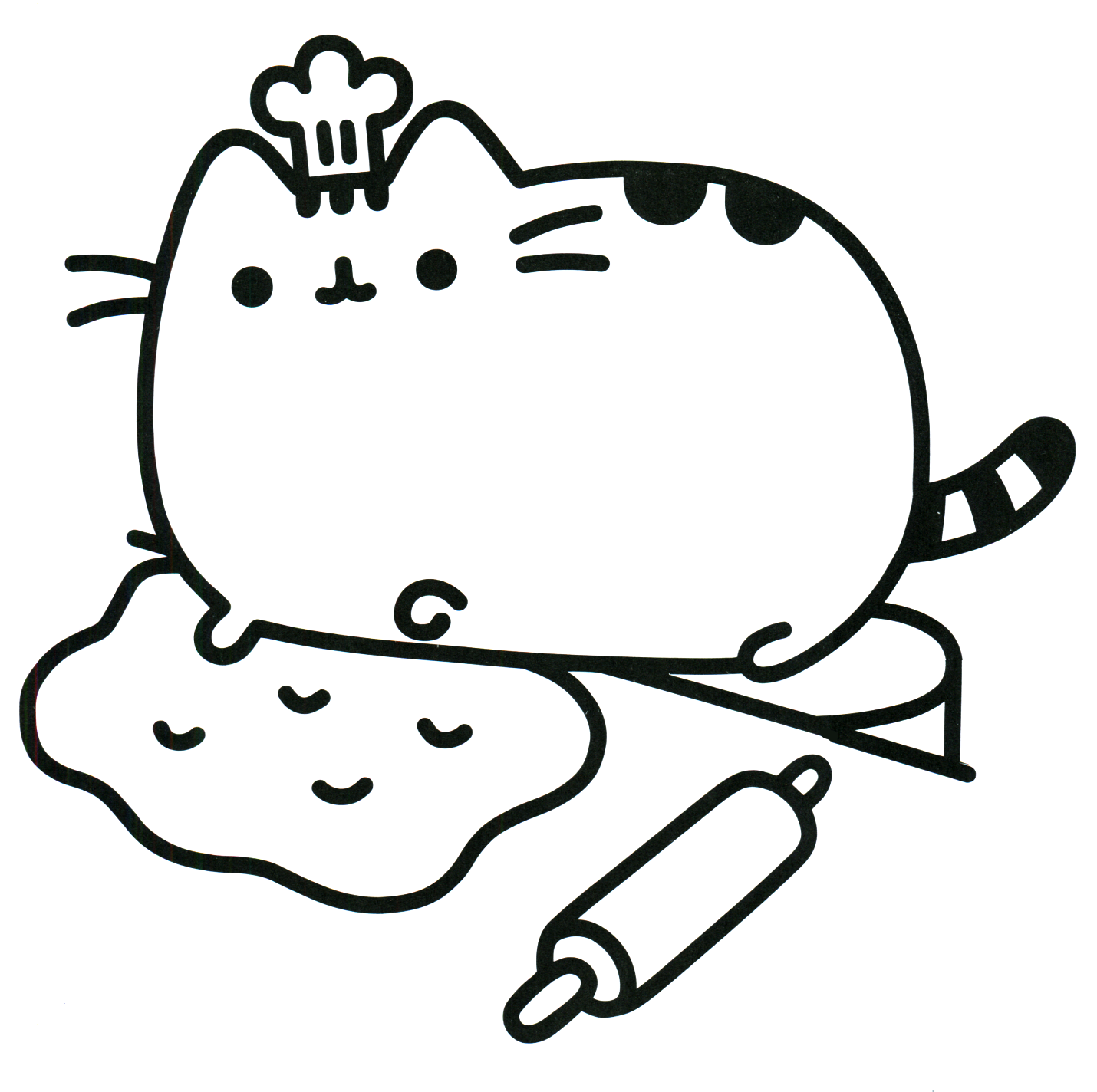 1430x1424 Coloring Pages Pusheen The Cat Chef