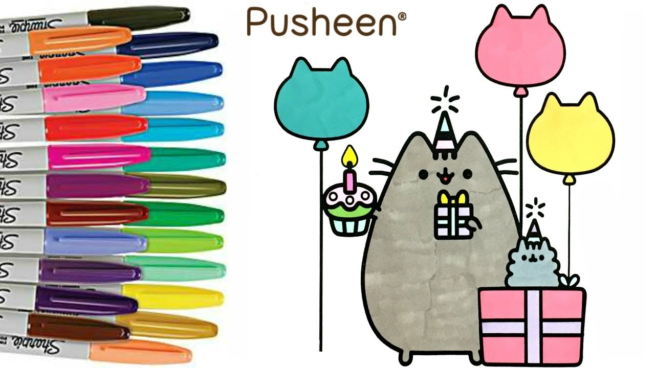1280x720 Pusheen Coloring Book Pusheen Cat Birthday Party How To Color