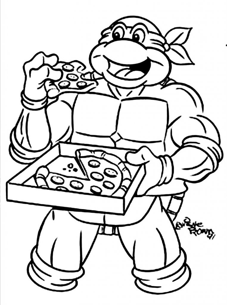 762x1024 Ninja Turtle Coloring Pages Eat Pizza Coloringstar Inside