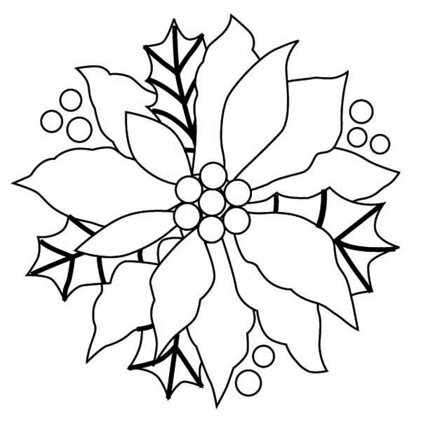 600x600 Christmas Flowers Coloring Pages