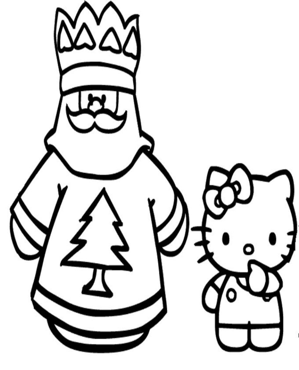 972x1203 Hello Kitty Coloring Pages Of Santa Claus And