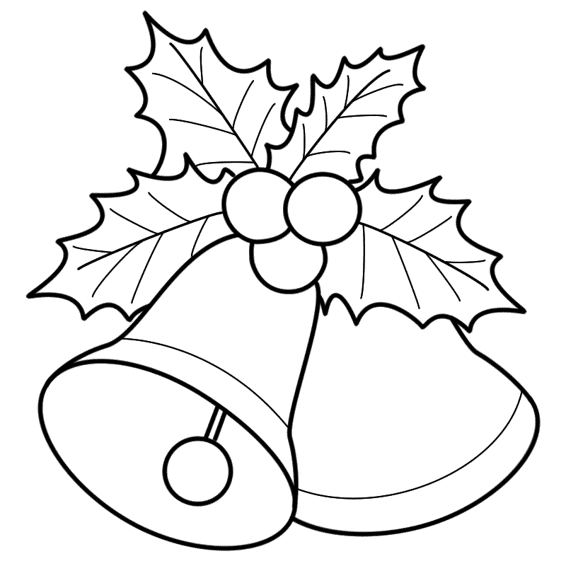 500x280 Awesome Christmas Picture To Color Coloring Pages Activities 800x800 Bells With Mistletoe