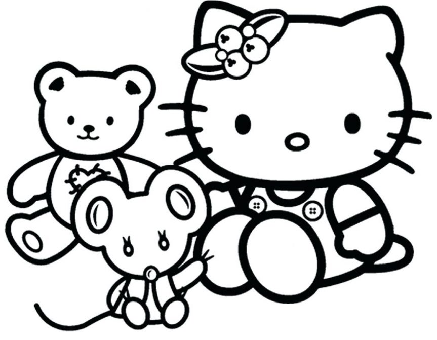 863x671 Draw Hello Kitty Coloring Pages For Your Free Book