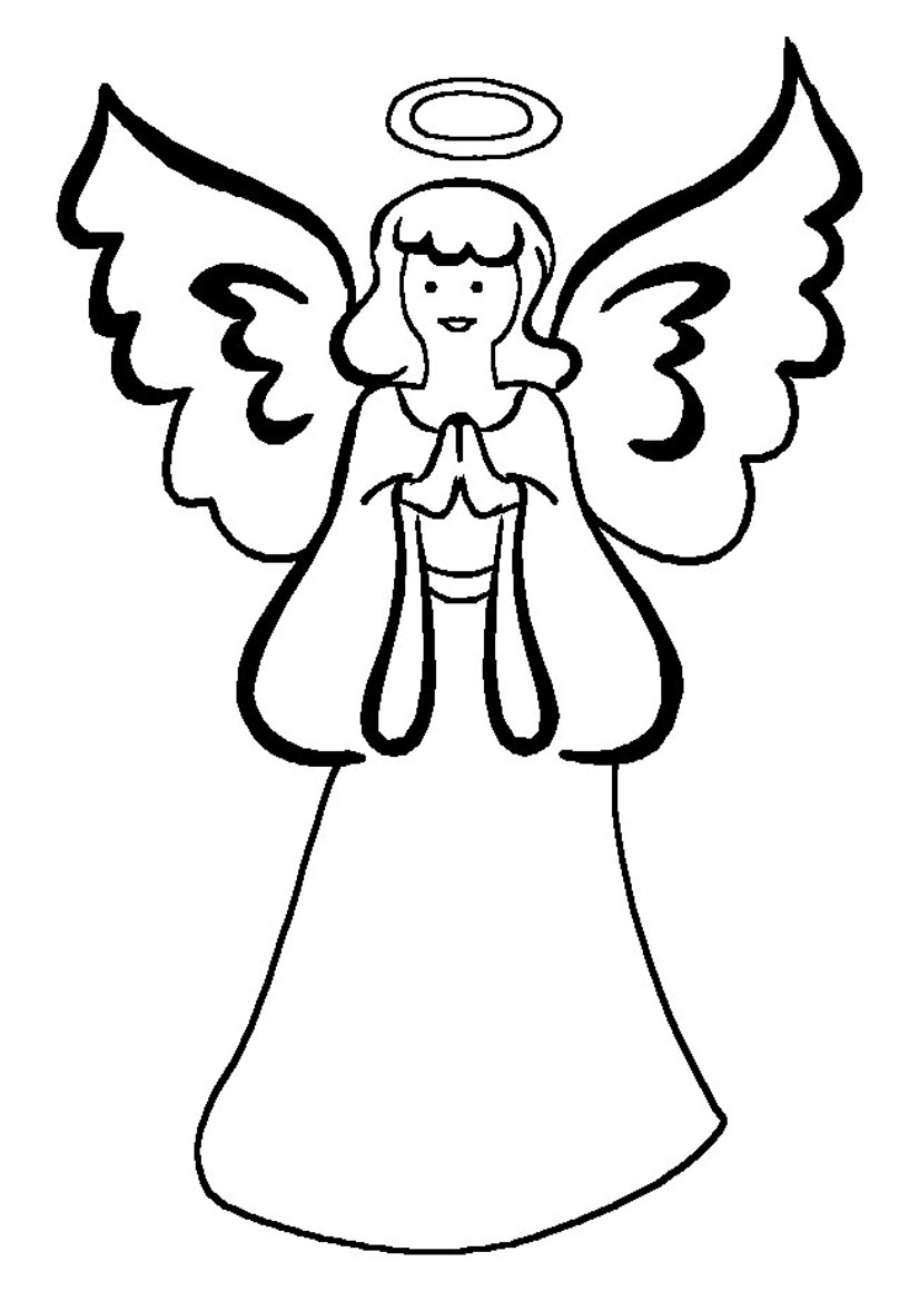 826x1169 Angel Clipart Coloring Page
