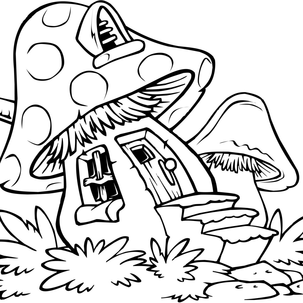 1024x1024 mushroom house coloring pages