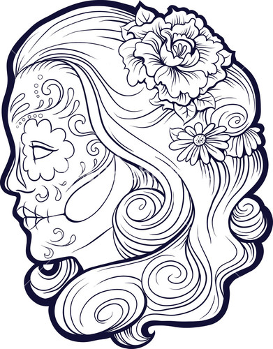 391x500 Sugar Skull Vector Element Line Drawing Printables