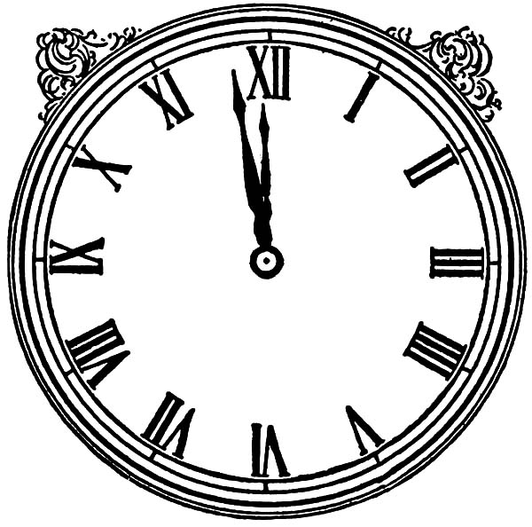 600x594 Vintage Analog Clock Coloring Pages Bulk Color