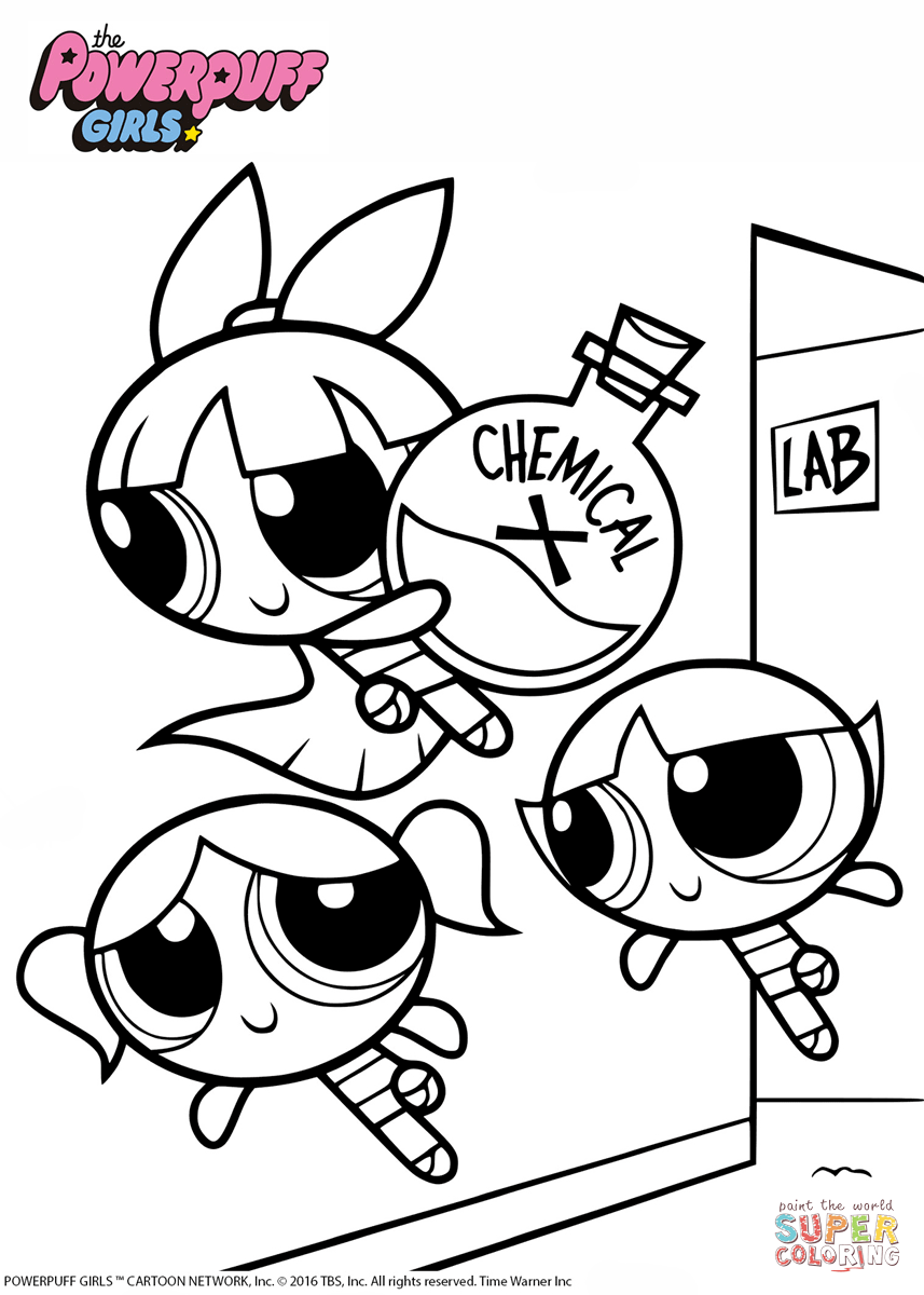 857x1200 Powerpuff Girls With Chemical X Coloring Page Free Printable