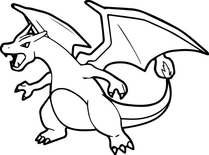 687x511 Coloring Pages Decorative Pokemon Coloring Pages Mega Charizard