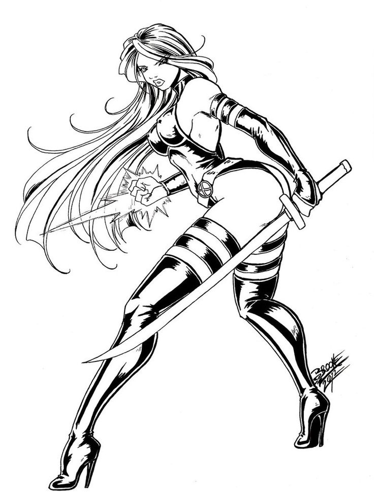 736x971 Sexy Adult Coloring Pages Psylocke By Tsuzukikun