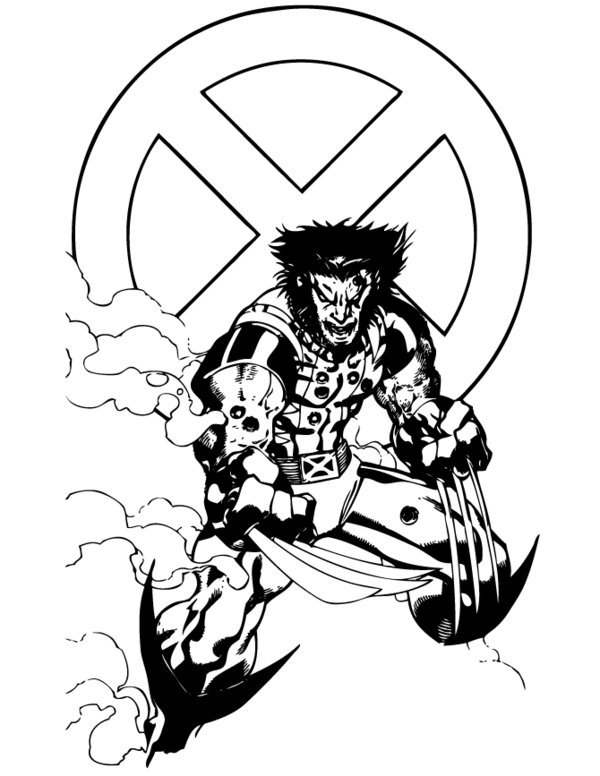 600x776 Coloring Pages For Kids Free Images Wolverine Logan Free Coloring