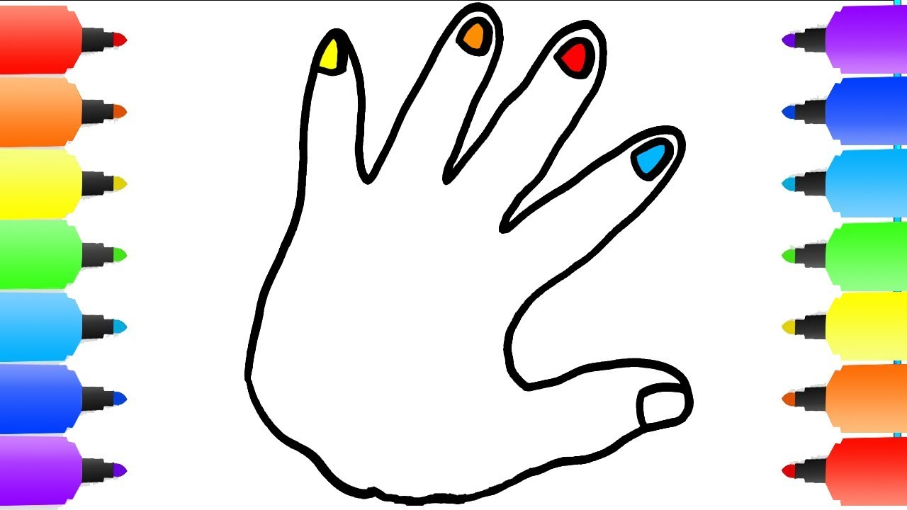 1280x720 Hand Coloring Pages How To Draw Hand Youtube Videos For Kids