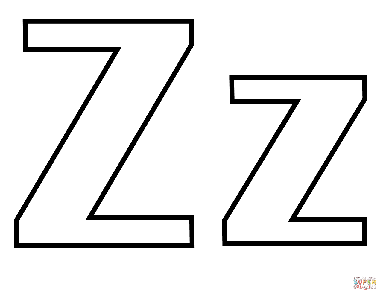 1280x989 Classic Letter Z Coloring Page Free Printable Coloring Pages