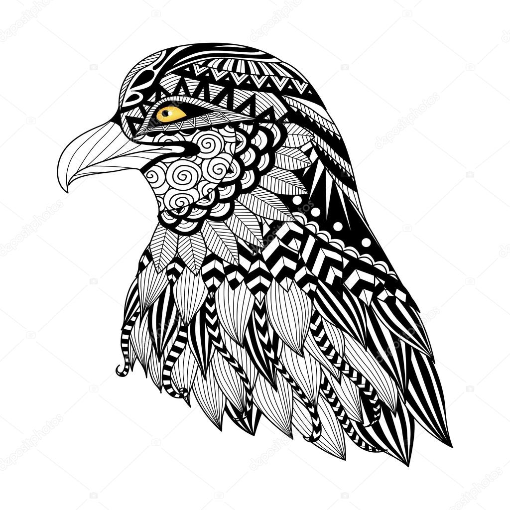 1024x1024 Detail Zentangle Eagle For Coloring Page, Tattoo, T Shirt Design
