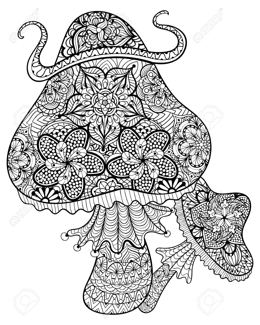 1040x1300 Hand Drawn Magic Mushrooms For Adult Anti Stress Coloring Page