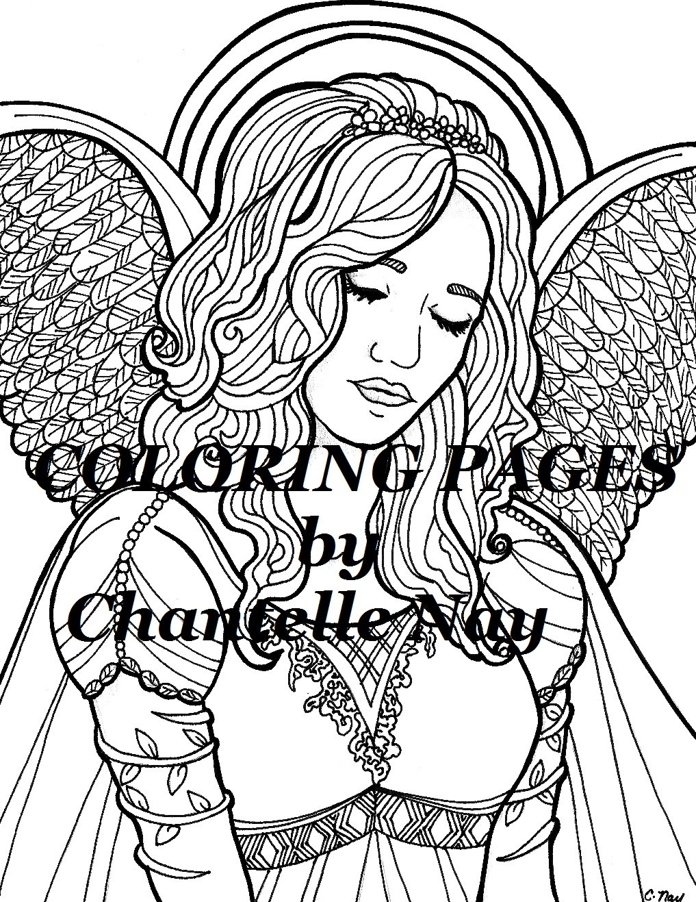 1017x1317 Kylie Coloring Page Angel Woman Face Adult Coloring