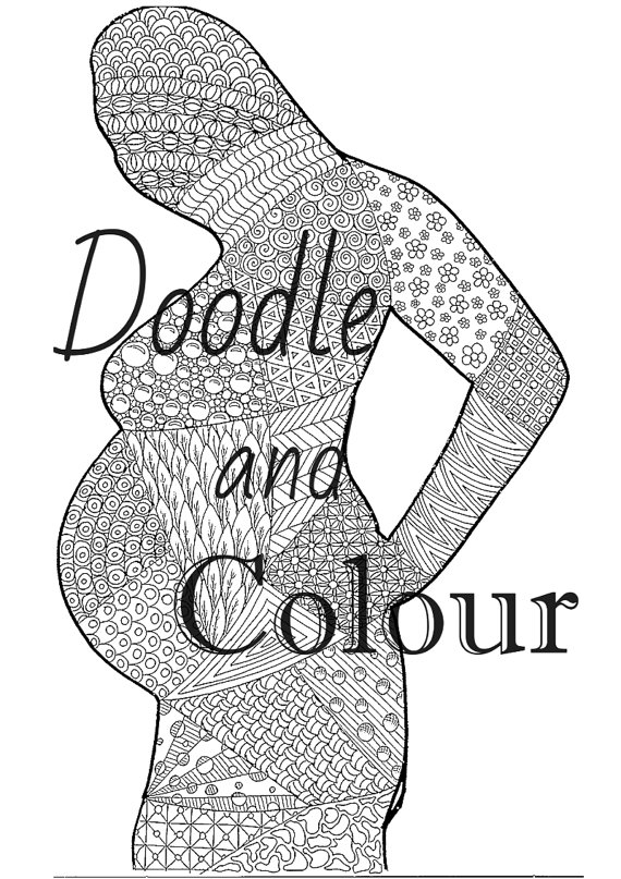 570x807 Pregnant Woman Adult Colouring Page, Instant Download, Printable