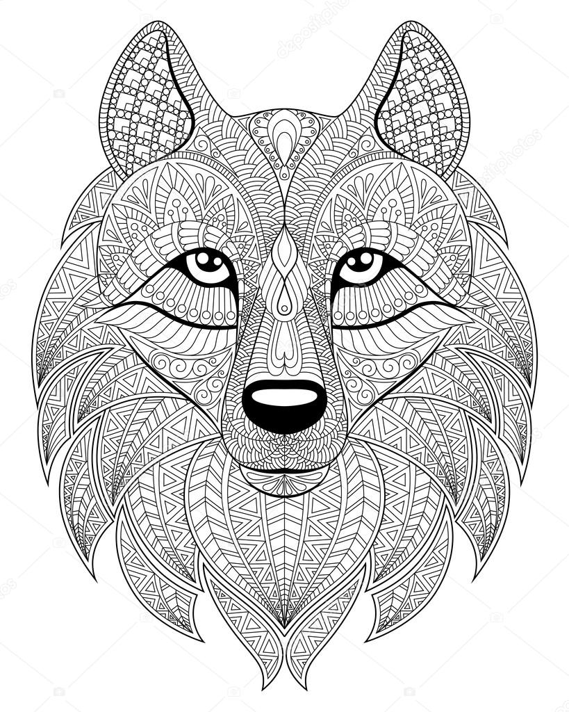 819x1024 Wolf Head In Zentangle Style. Adult Antistress Coloring Page
