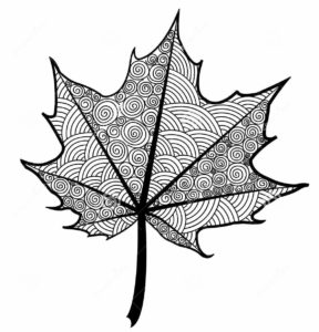288x300 Zentangle Leaf Coloring Pages