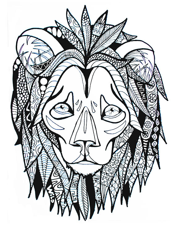570x738 Adult Coloring Lion Zentangle African Safari Jungle Adult