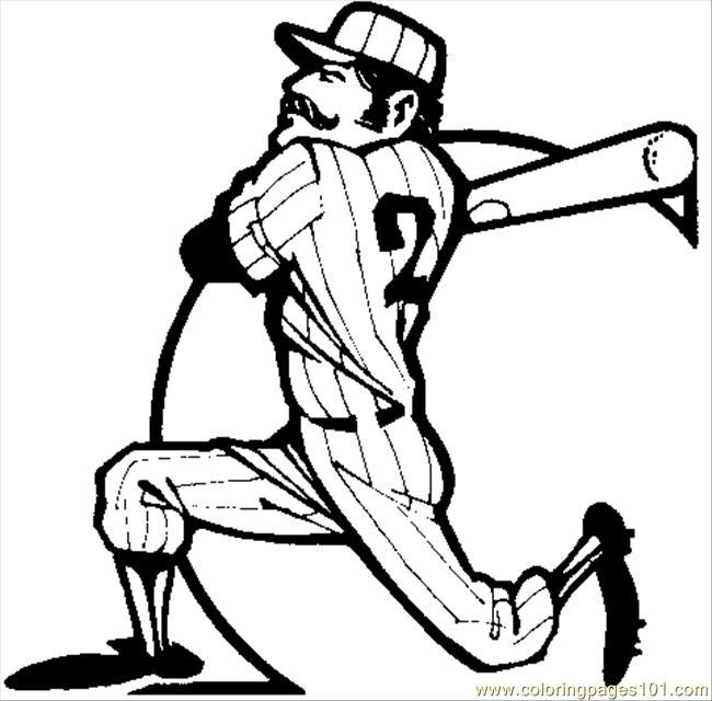 650x640 Baseball Big Swing Coloring Page