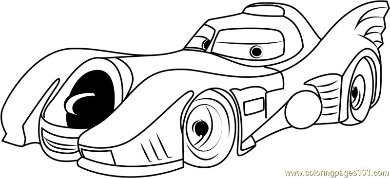 800x366 Batcar Disney Coloring Page