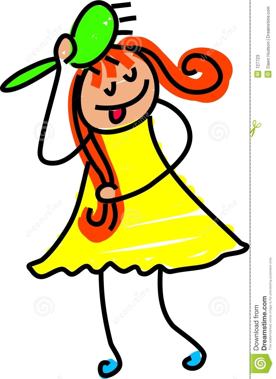 947x1300 Child Brushing Hair Clipart