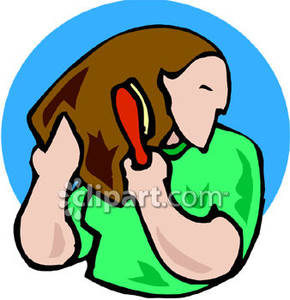 290x300 Woman Brushing Her Hair Royalty Free Clipart Picture