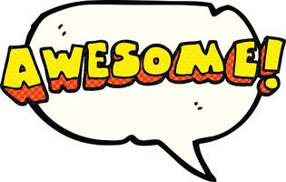 315x200 Comic Book Speech Bubble Cartoon Awesome Word Stock Vectors