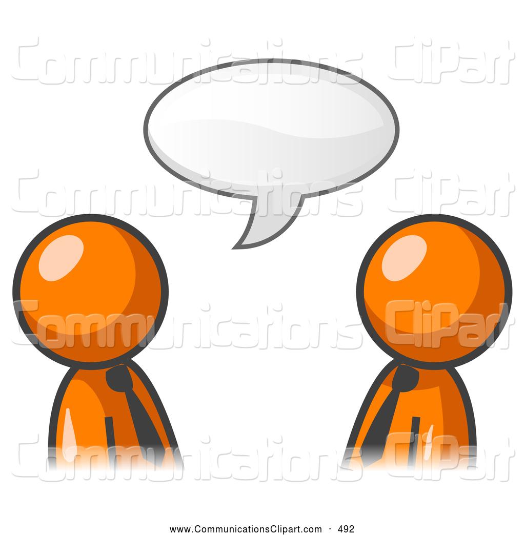 1024x1044 Communication Clipart Of Pair Of Two Orange Businessmen Having