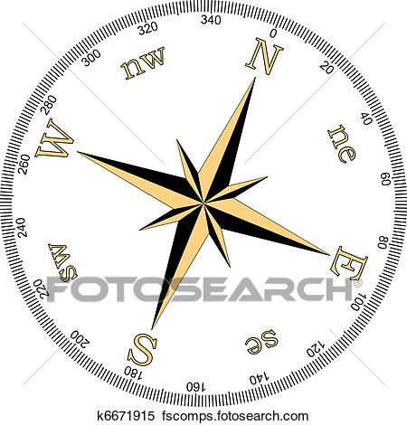 450x470 Clipart Of Vector Illustration Of Compass K6671915