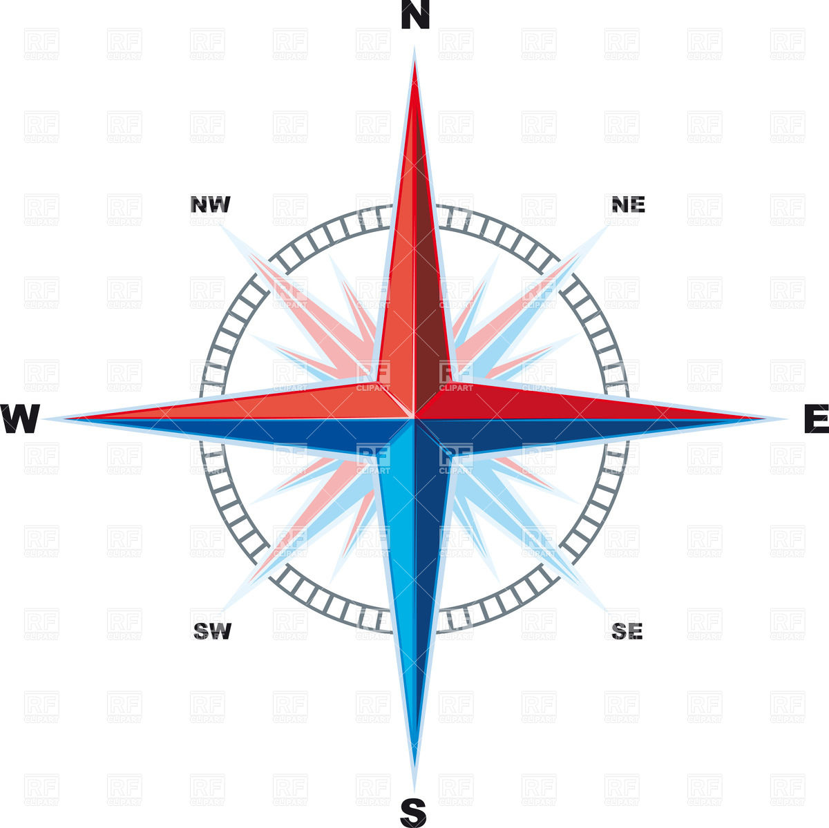 1200x1199 Simple Compass Rose (Wind Rose) Royalty Free Vector Clip Art Image
