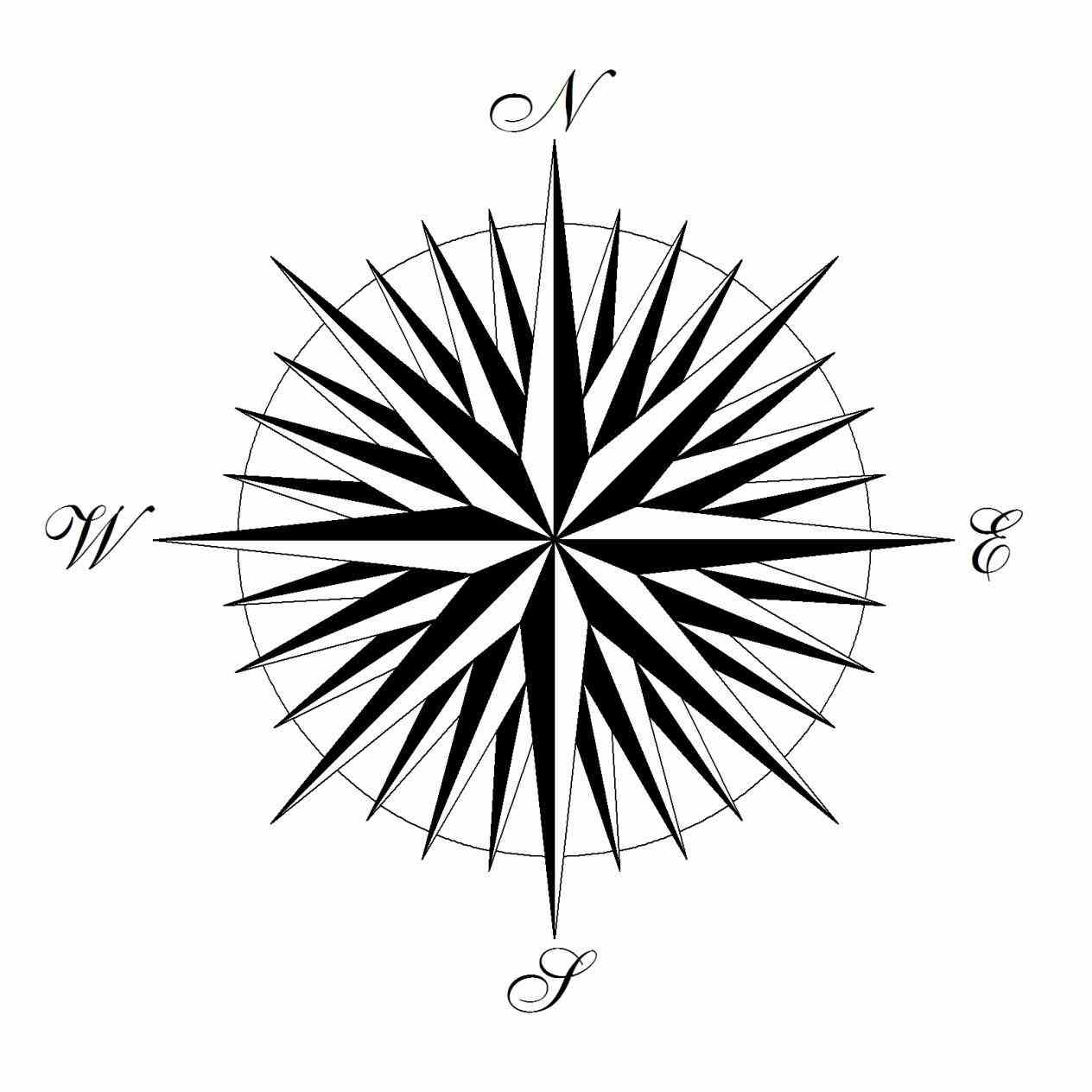 1264x1264 Compass Rose Drawing