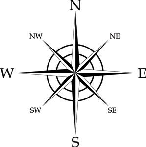 298x300 Compass Rose Die Cut Decal