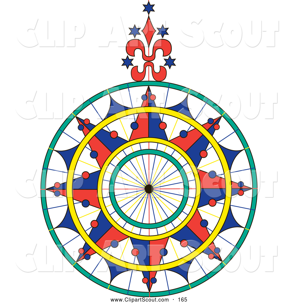 1024x1044 Clipart Of A Colorful Ornate Compass Rose Over White By Pauloribau