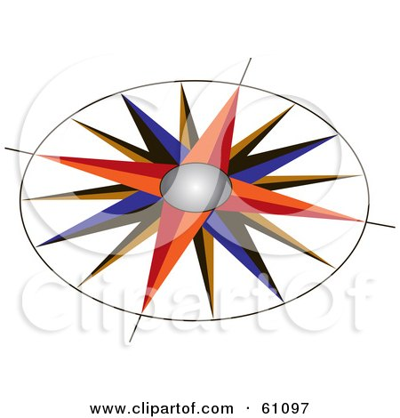450x470 Royalty Free (Rf) Clipart Illustration Of A Colorful Compass Rose