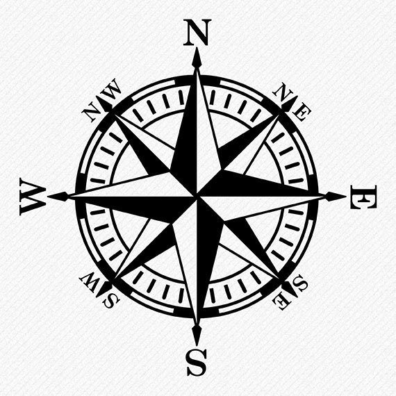 570x570 Compass Rose Silhouette, Compass Clipart, Compass Vector, Clipart
