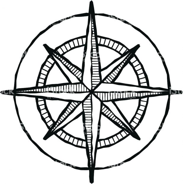 618x621 Of A Black And White Compass Rose Royalty Free Vector Illustration