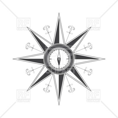 400x400 Simple Compass Rose (Wind Rose) Royalty Free Vector Clip Art Image