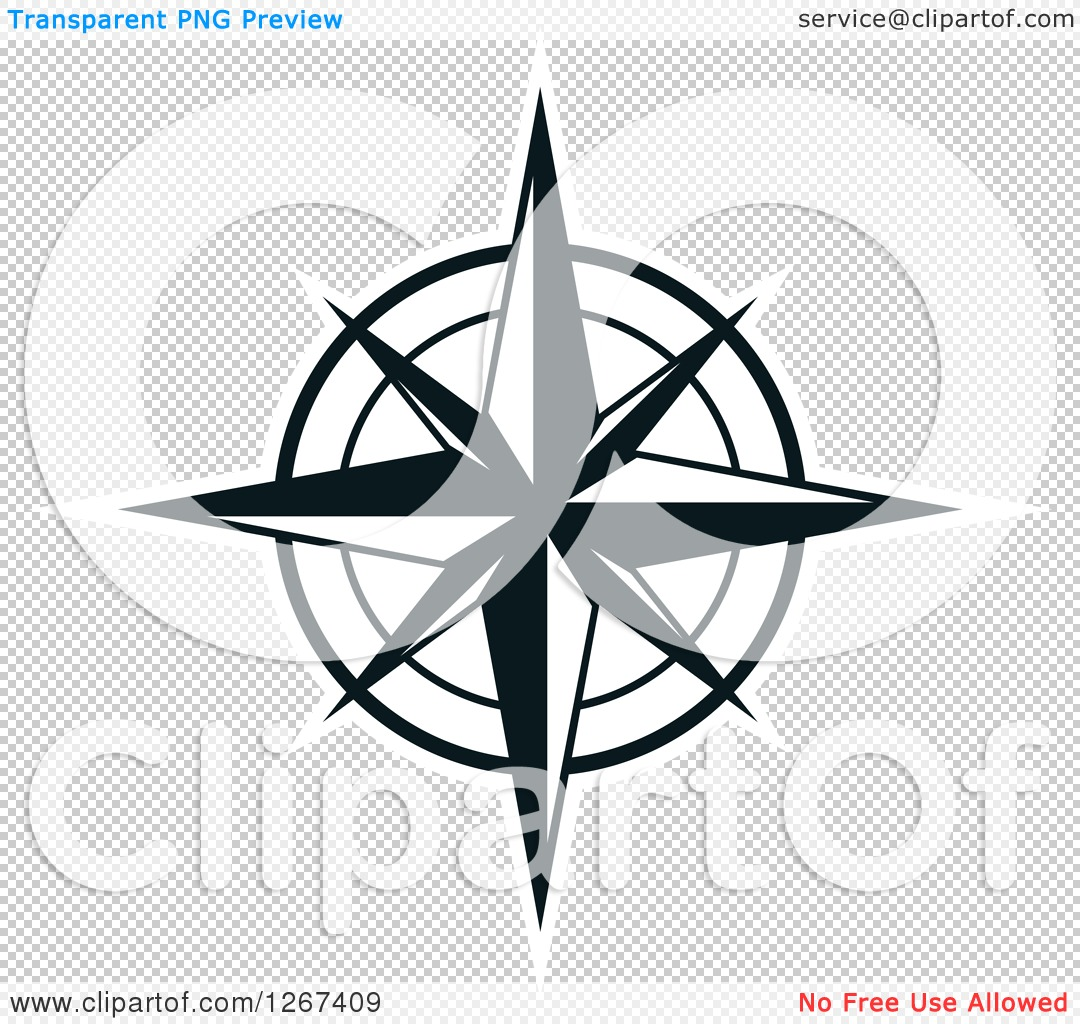 1080x1024 Clipart Of A Black And White Compass Rose