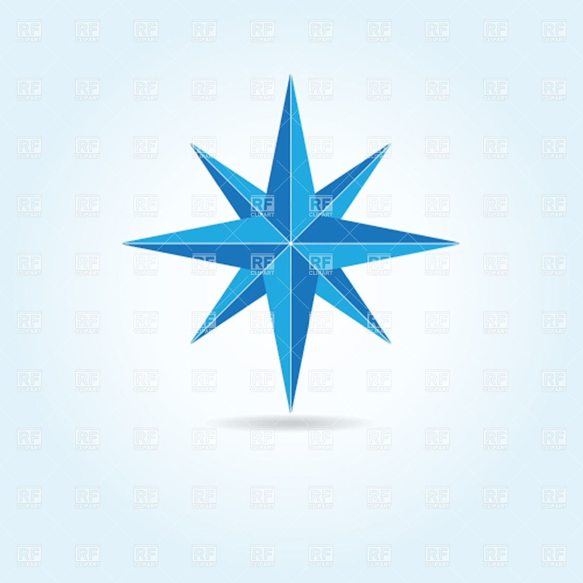 1200x1200 Blue Oldstyle Wind Rose Compass Royalty Free Vector Clip Art Image