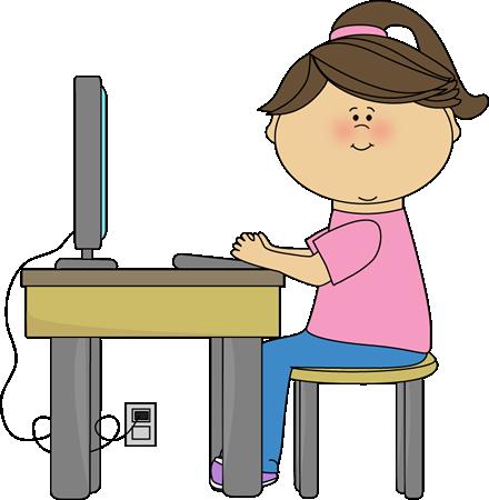 440x450 School Girl Using A Computer Clip Art
