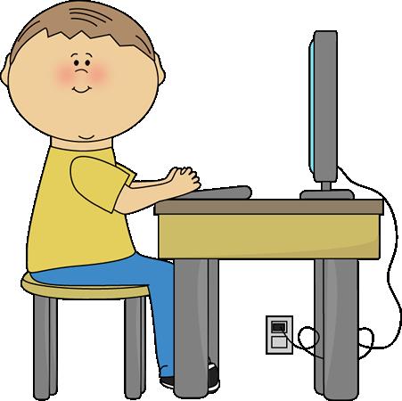 451x450 Student Using Computer Clip Art