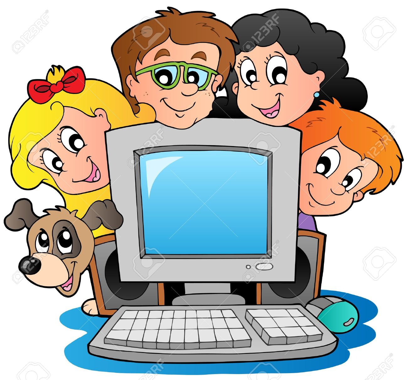 1300x1212 Computer With Cartoon Kids And Dog Royalty Free Cliparts, Vectors