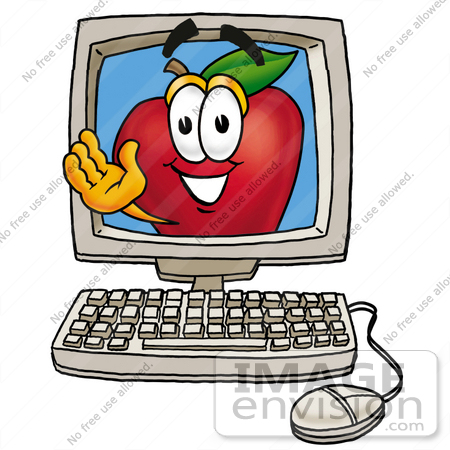 450x450 Clip art Graphic of a Red Apple Cartoon Character Waving From
