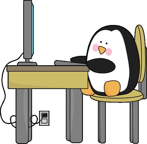 500x490 Penguin Using a Computer Clip Art