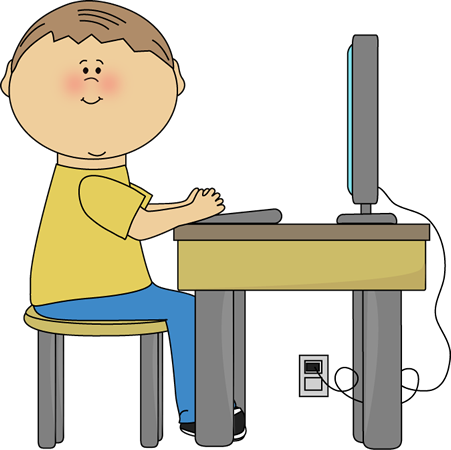451x450 Student Using Computer Clip Art