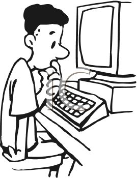 269x350 Royalty Free Clip Art Image Boy Confused While Working on Computer