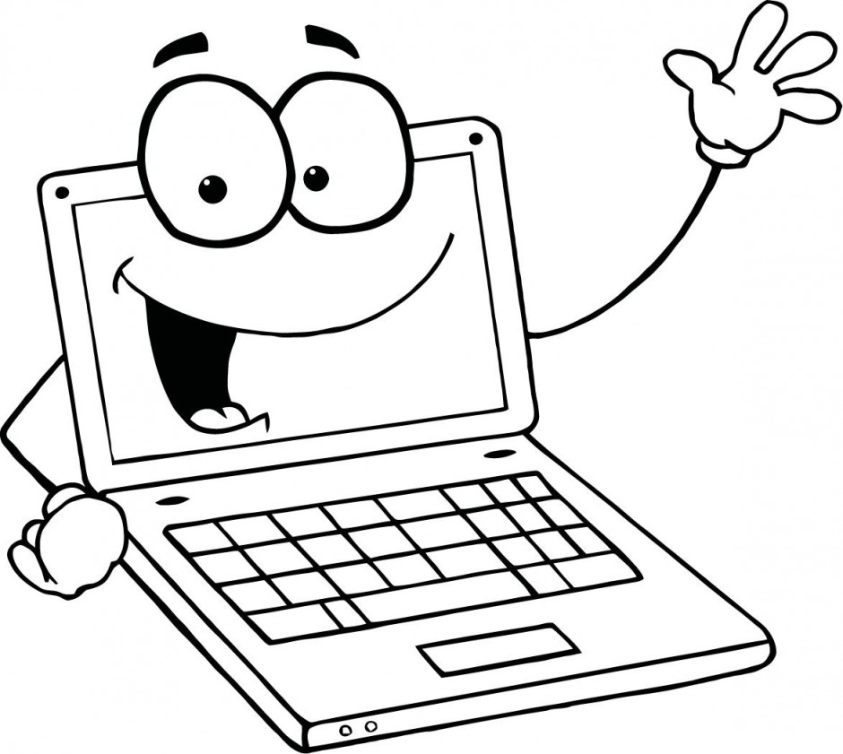 940x841 Computer Clipart Black And White